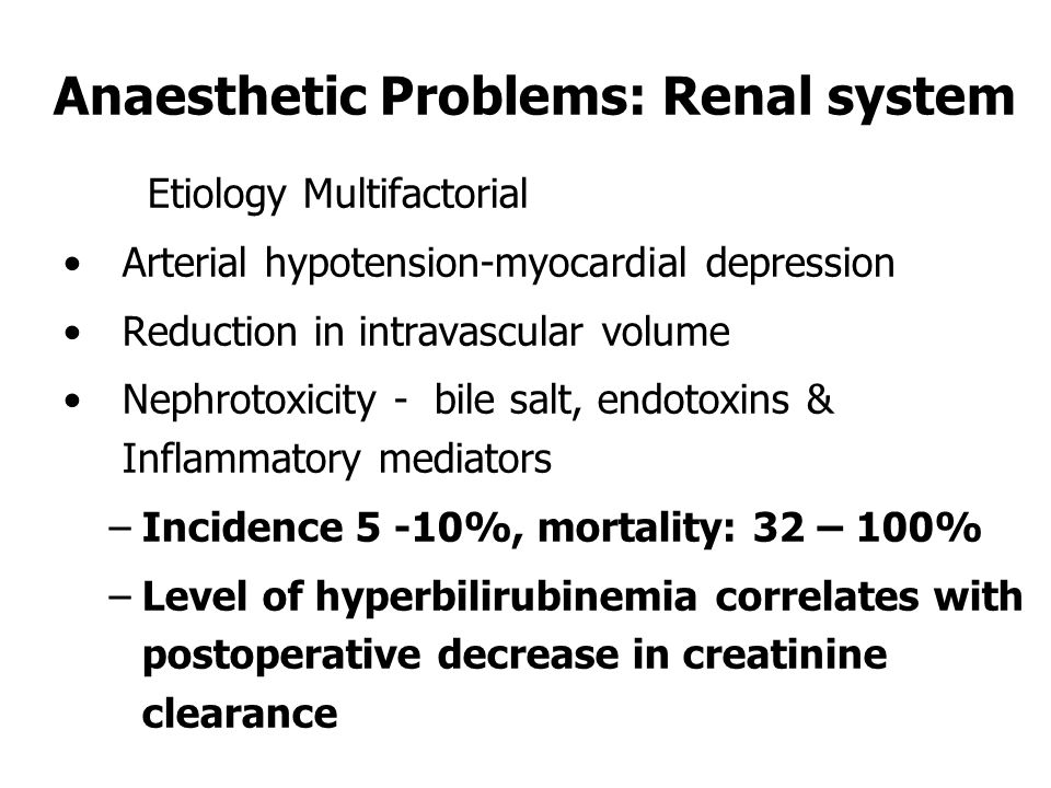 Anaesthetic Problems: Renal system