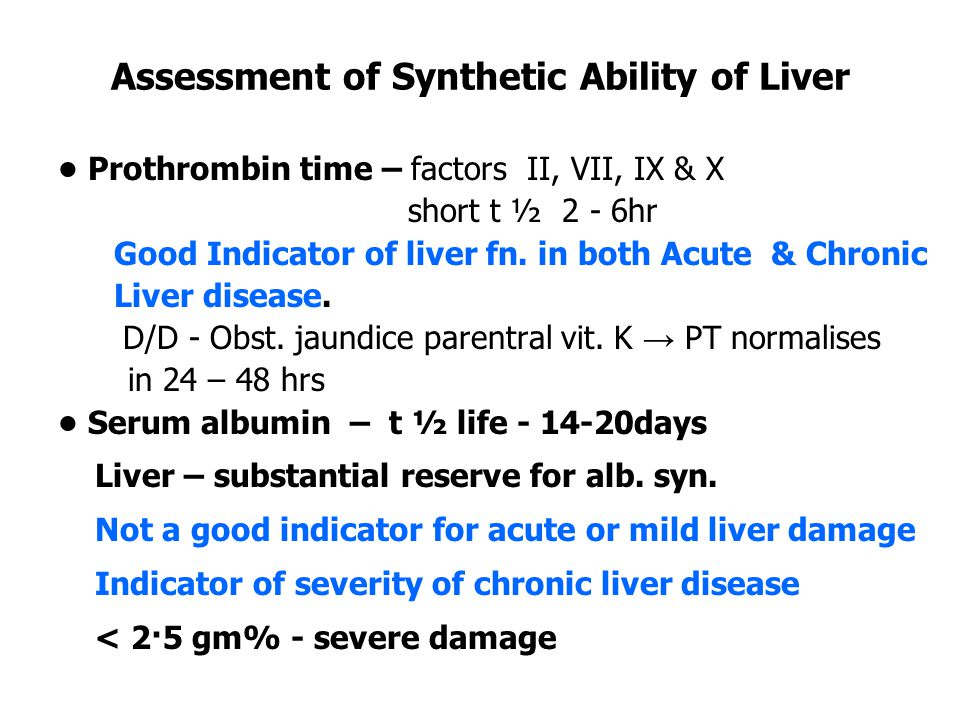 Assessment of Synthetic Ability of Liver