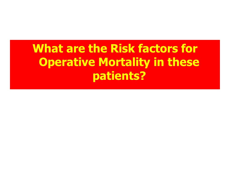 What are the Risk factors for Operative Mortality in these patients