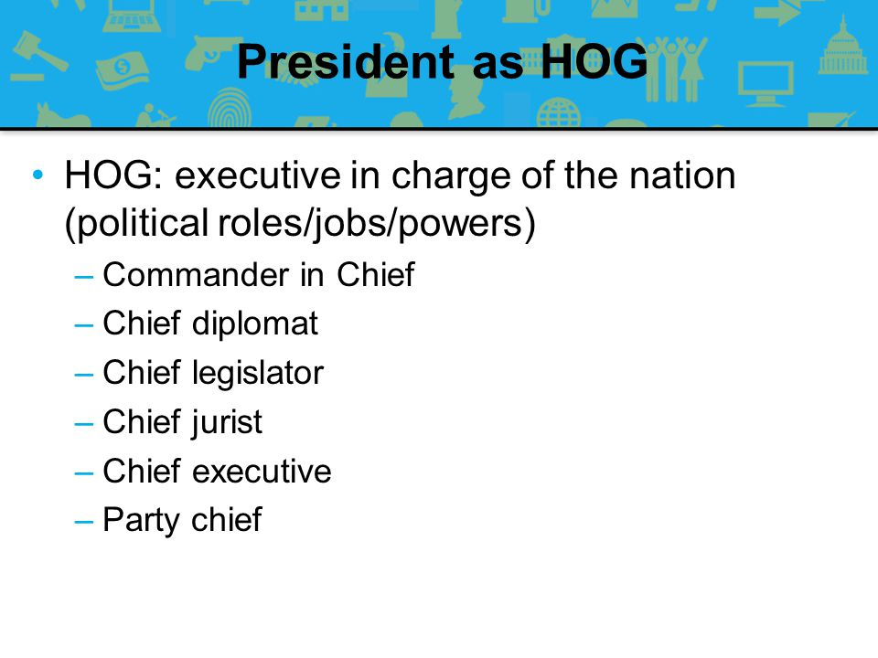 President as HOG HOG: executive in charge of the nation (political roles/jobs/powers) Commander in Chief.