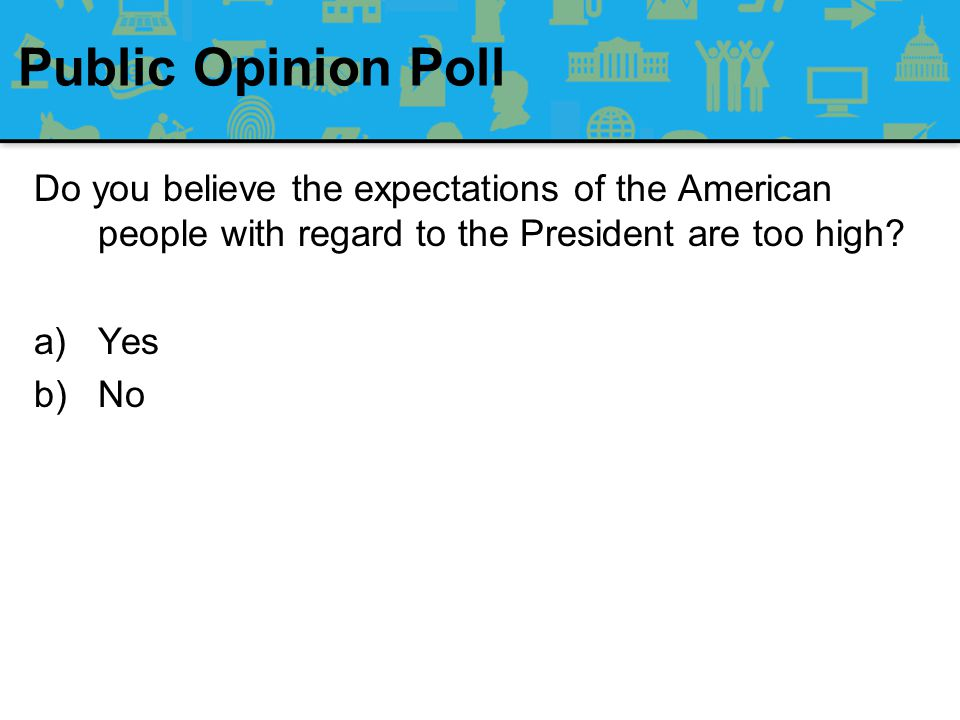 Public Opinion Poll Do you believe the expectations of the American people with regard to the President are too high