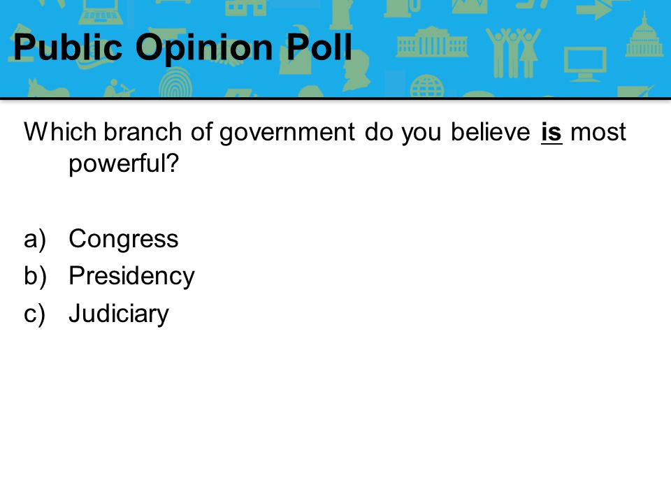 Public Opinion Poll Which branch of government do you believe is most powerful Congress. Presidency.