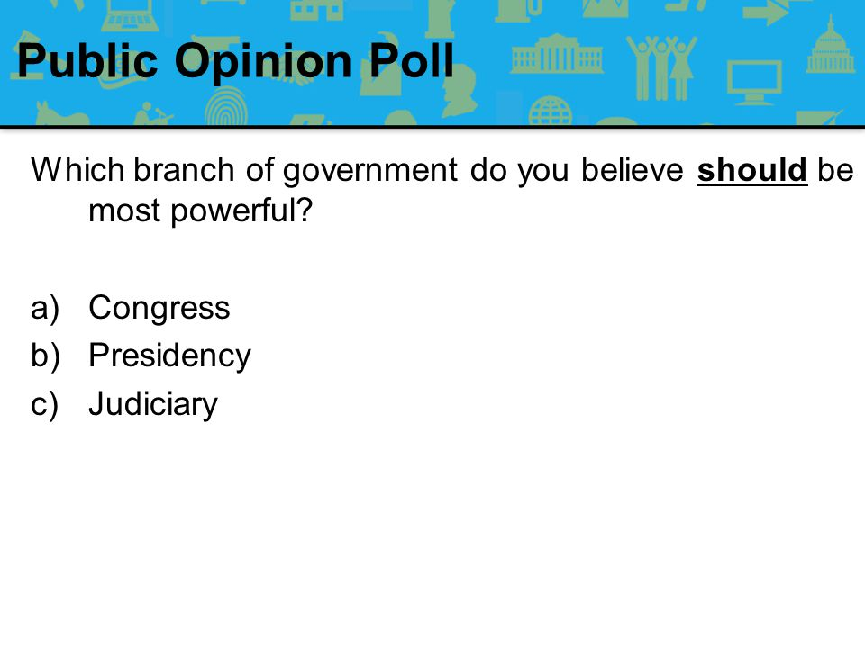 Public Opinion Poll Which branch of government do you believe should be most powerful Congress. Presidency.