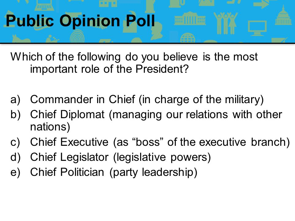 Public Opinion Poll Which of the following do you believe is the most important role of the President