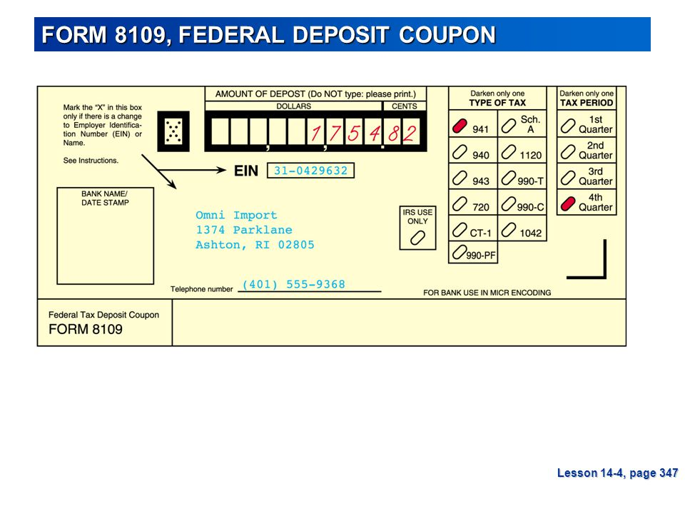 FORM 8109, FEDERAL DEPOSIT COUPON