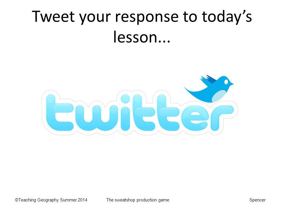 Tweet your response to today's lesson...