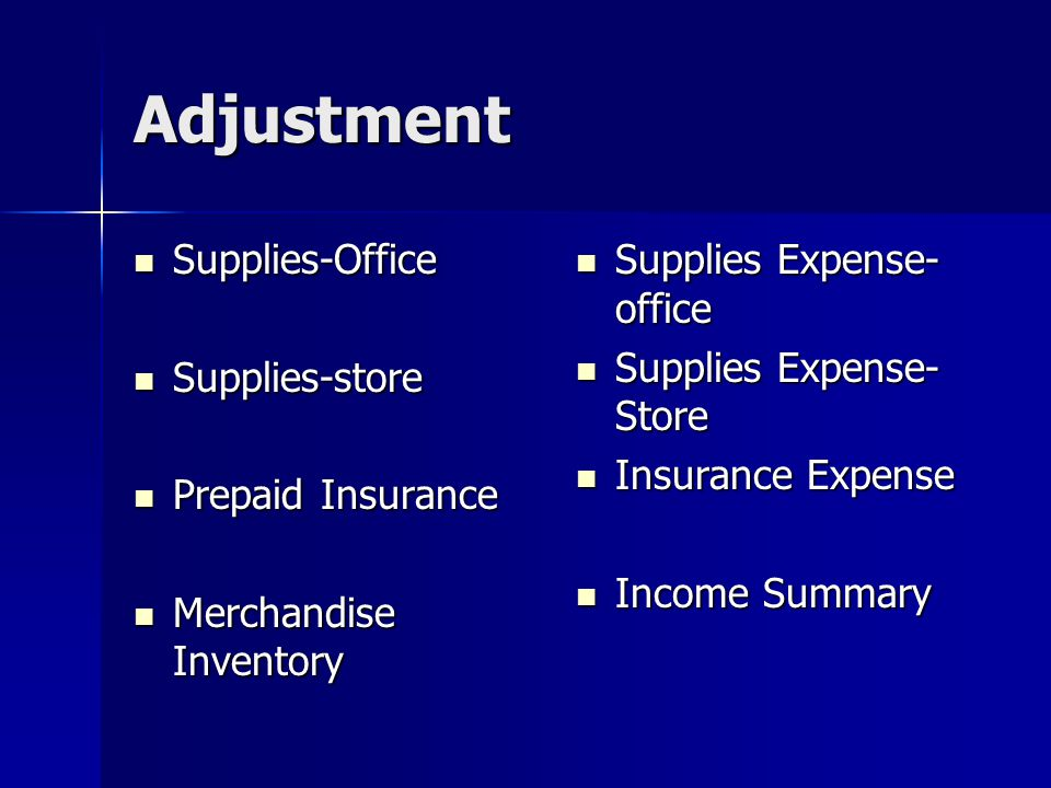 Adjustment Supplies-Office Supplies-store Prepaid Insurance