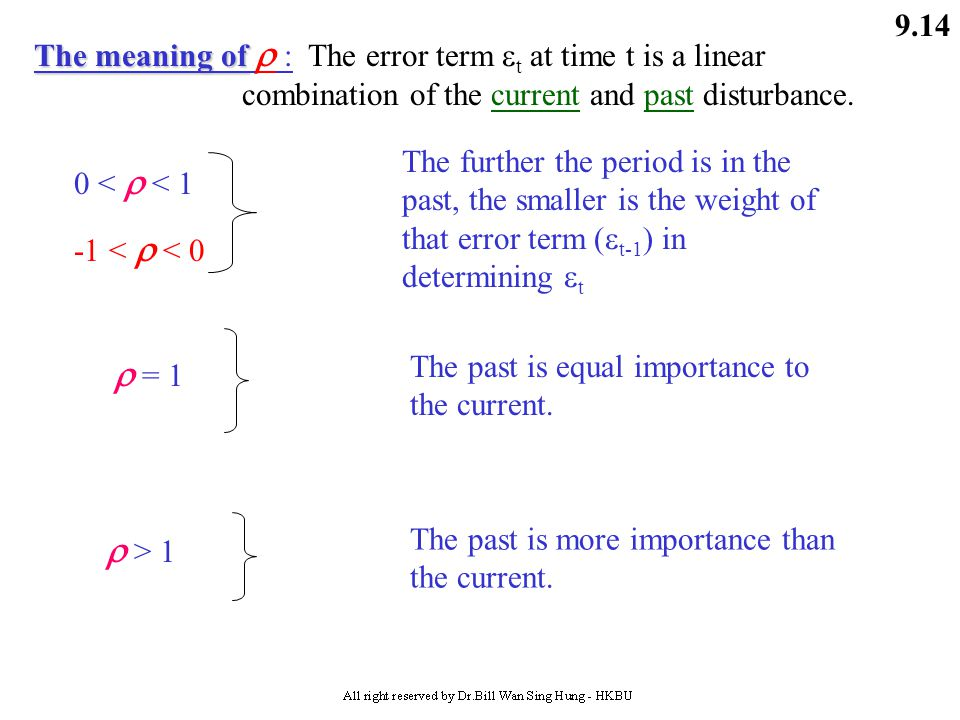 The meaning of  : The error term t at time t is a linear