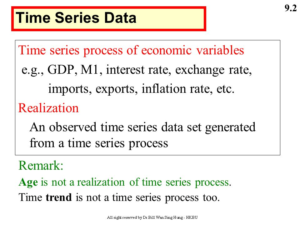 Time Series Data Time series process of economic variables