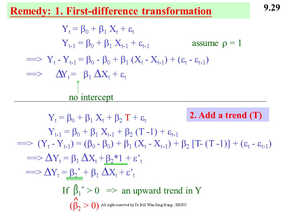D D Remedy: 1. First-difference transformation Yt = 0 + 1 Xt + t