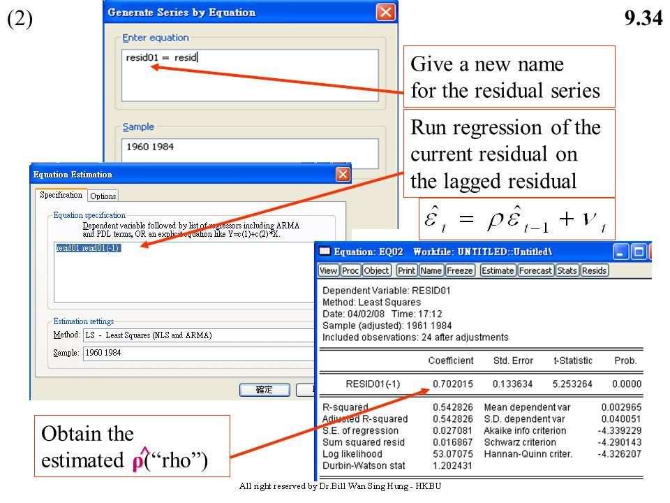 (2) Give a new name. for the residual series. Run regression of the current residual on the lagged residual.