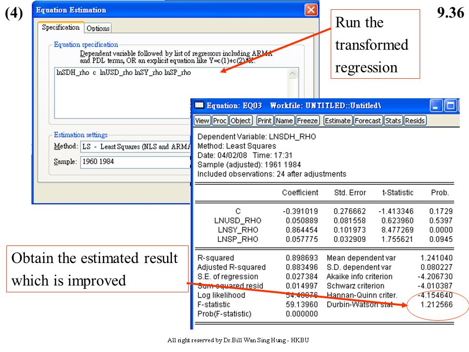 (4) Run the transformed regression Obtain the estimated result which is improved