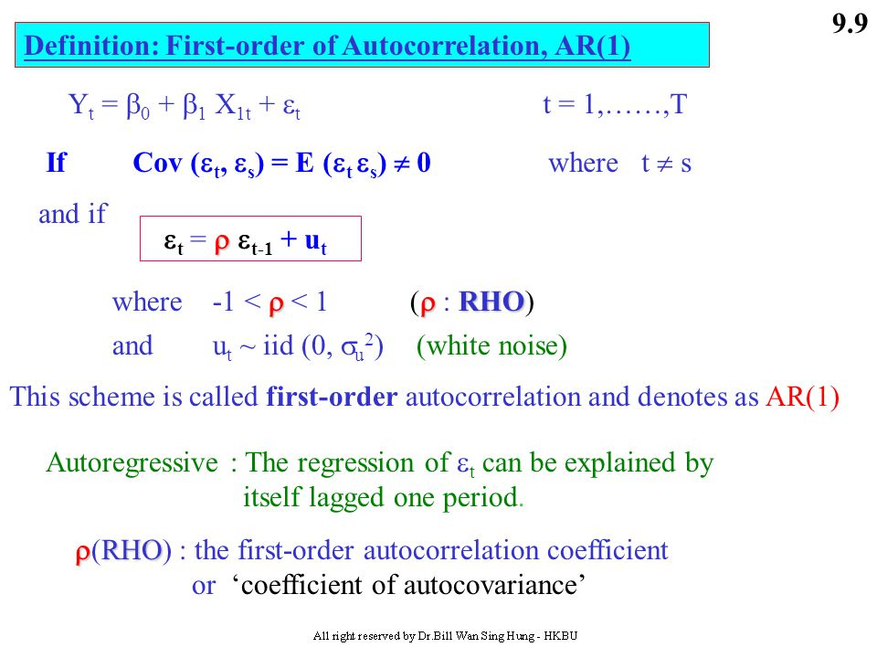Definition: First-order of Autocorrelation, AR(1)