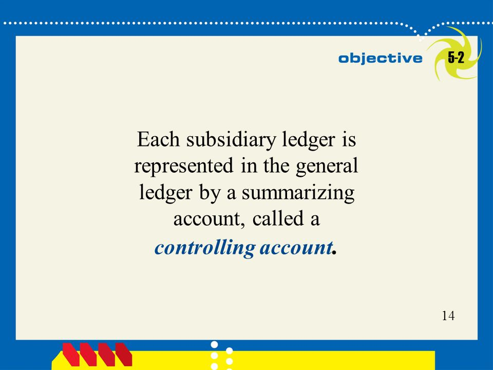 5-2 Each subsidiary ledger is represented in the general ledger by a summarizing account, called a controlling account.