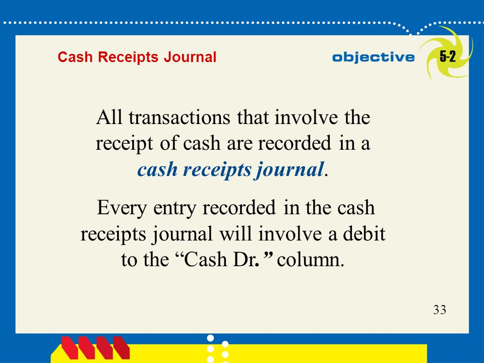 Cash Receipts Journal 5-2. All transactions that involve the receipt of cash are recorded in a cash receipts journal.