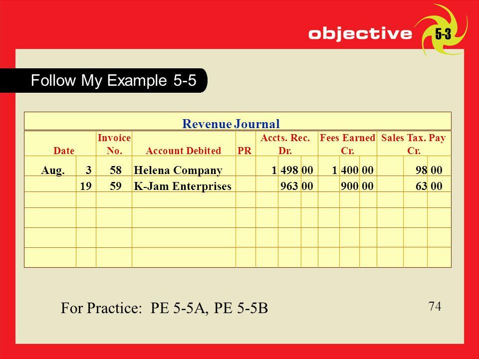 For Practice: PE 5-5A, PE 5-5B