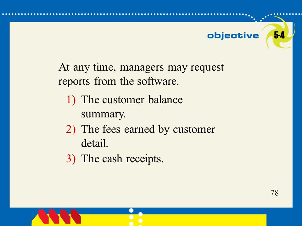 At any time, managers may request reports from the software.