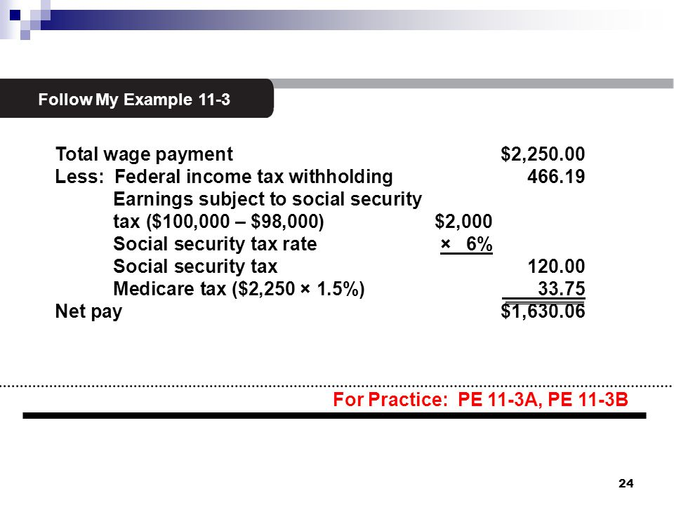 2 Follow My Example 11-3 Total wage payment $2,250.00