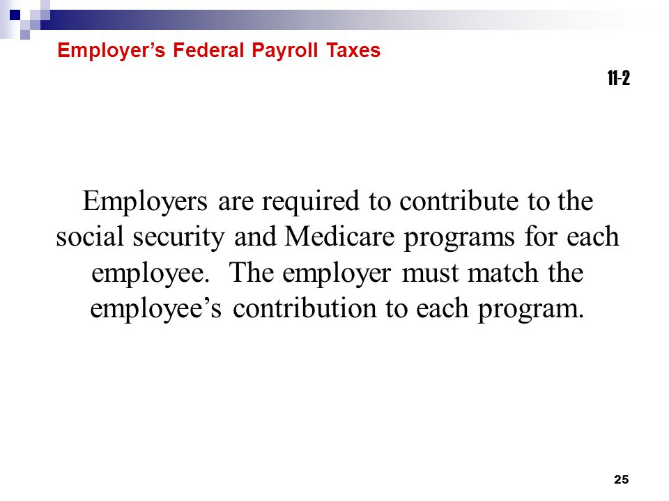 Employer's Federal Payroll Taxes 11-2. 11-2.
