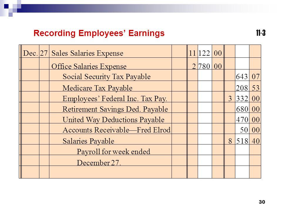 Recording Employees' Earnings 11-3
