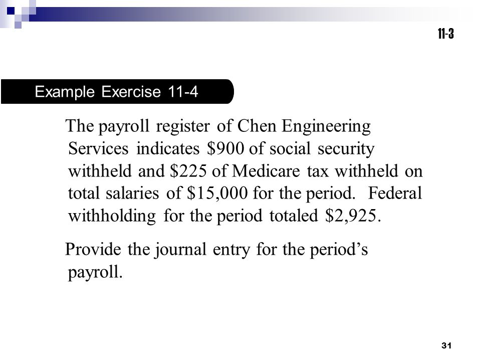 Provide the journal entry for the period's payroll.