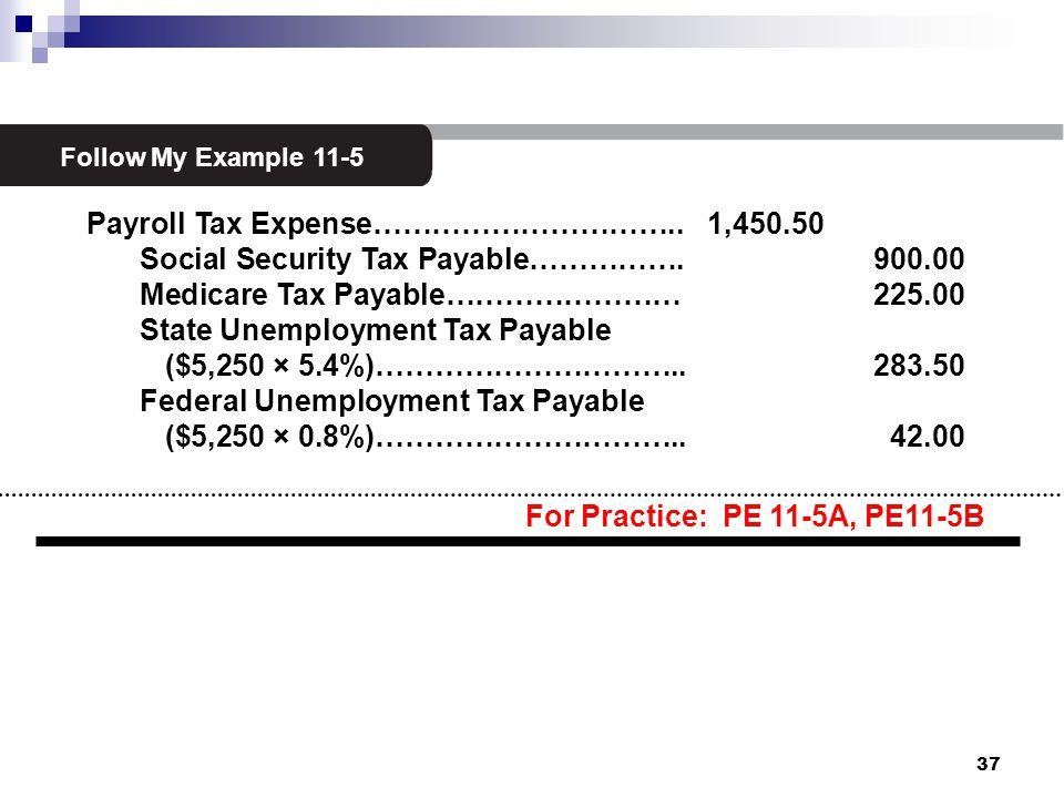 3 Follow My Example 11-5 Payroll Tax Expense………………………….. 1,450.50