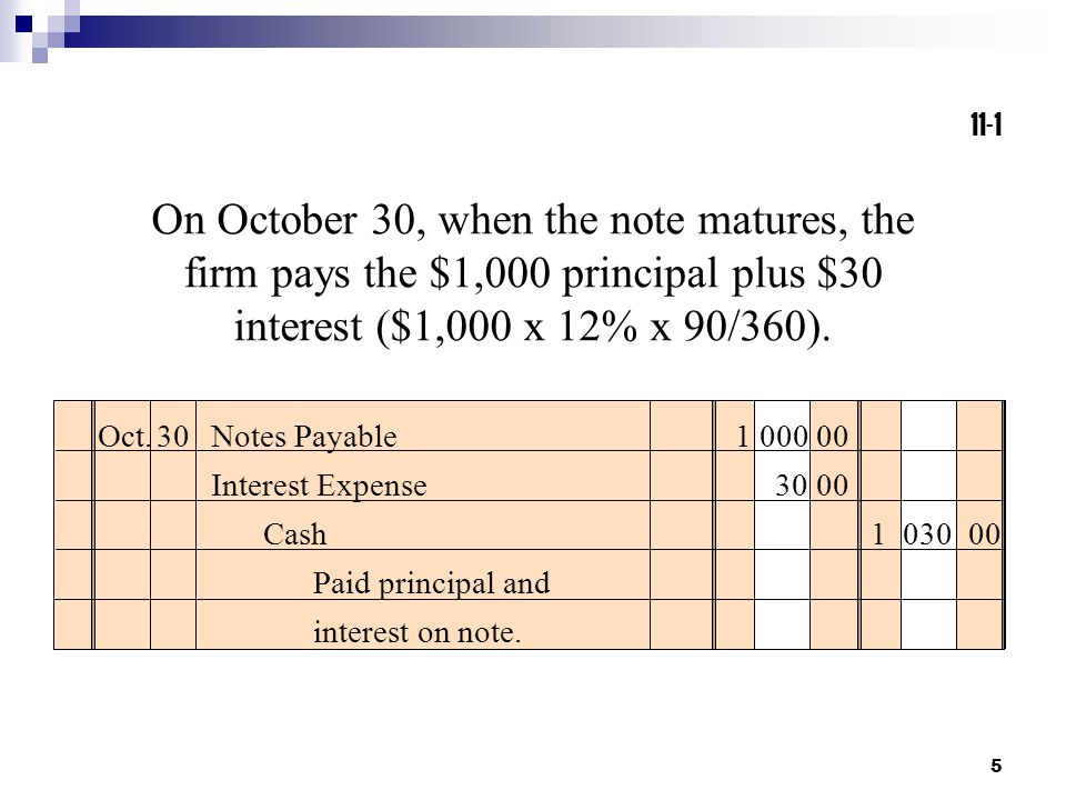 11-1 On October 30, when the note matures, the firm pays the $1,000 principal plus $30 interest ($1,000 x 12% x 90/360).