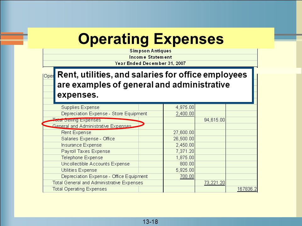 Operating Expenses Rent, utilities, and salaries for office employees are examples of general and administrative expenses.