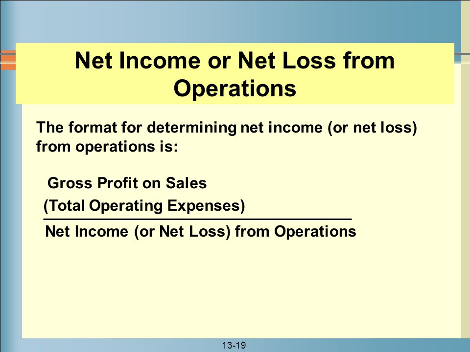 Net Income or Net Loss from Operations