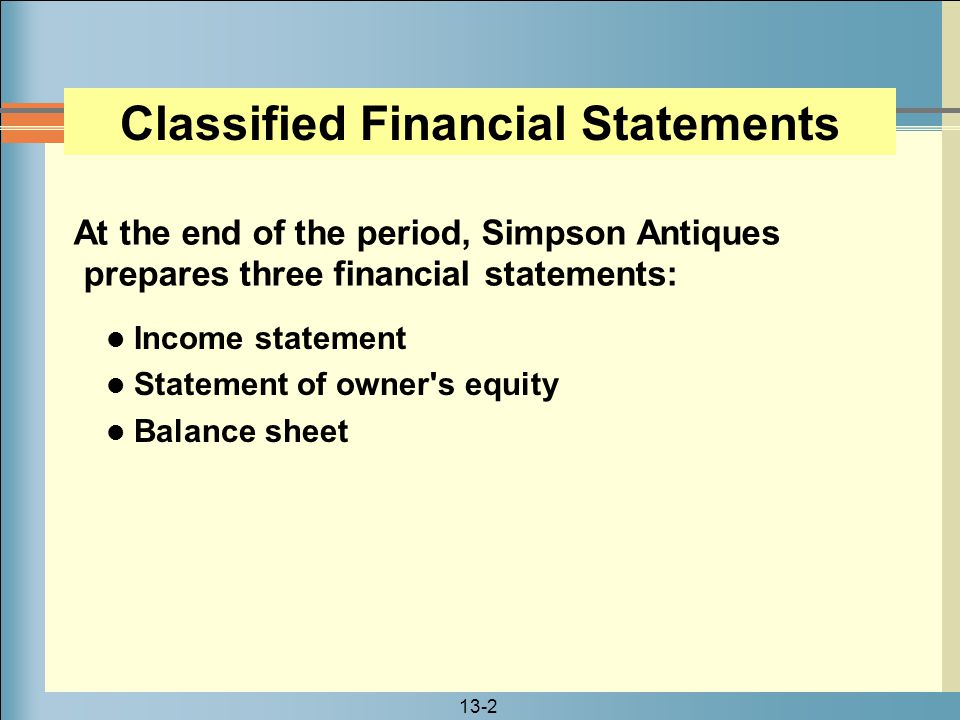 Classified Financial Statements