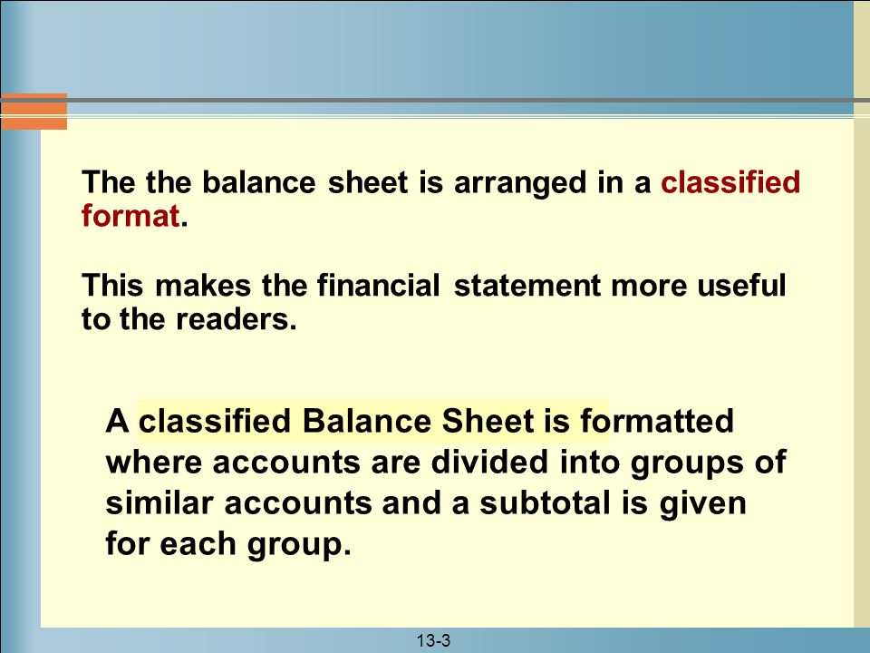 The the balance sheet is arranged in a classified format.