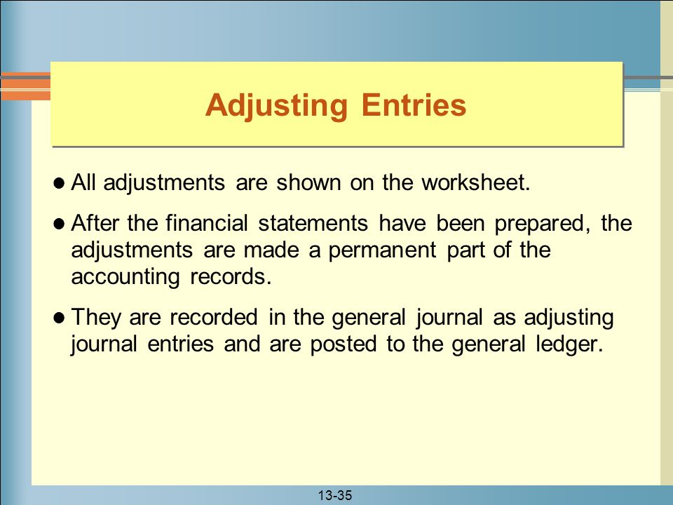Adjusting Entries All adjustments are shown on the worksheet.