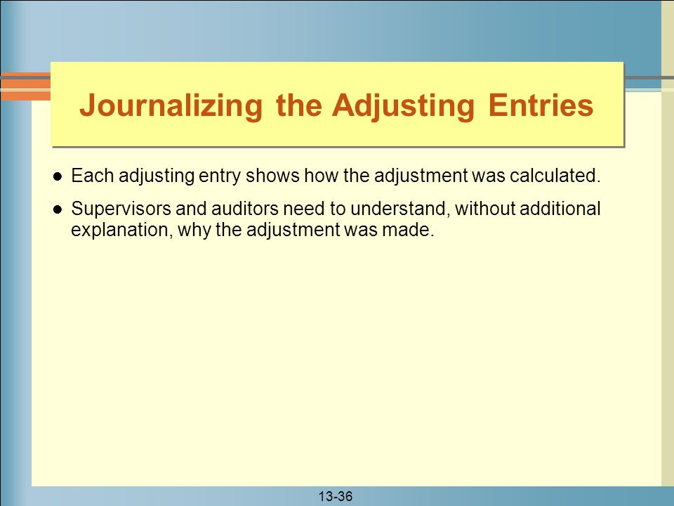 Journalizing the Adjusting Entries