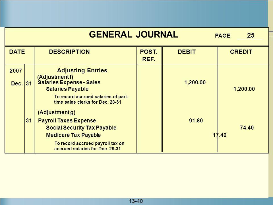 GENERAL JOURNAL PAGE 25 DATE DESCRIPTION POST. DEBIT CREDIT REF.