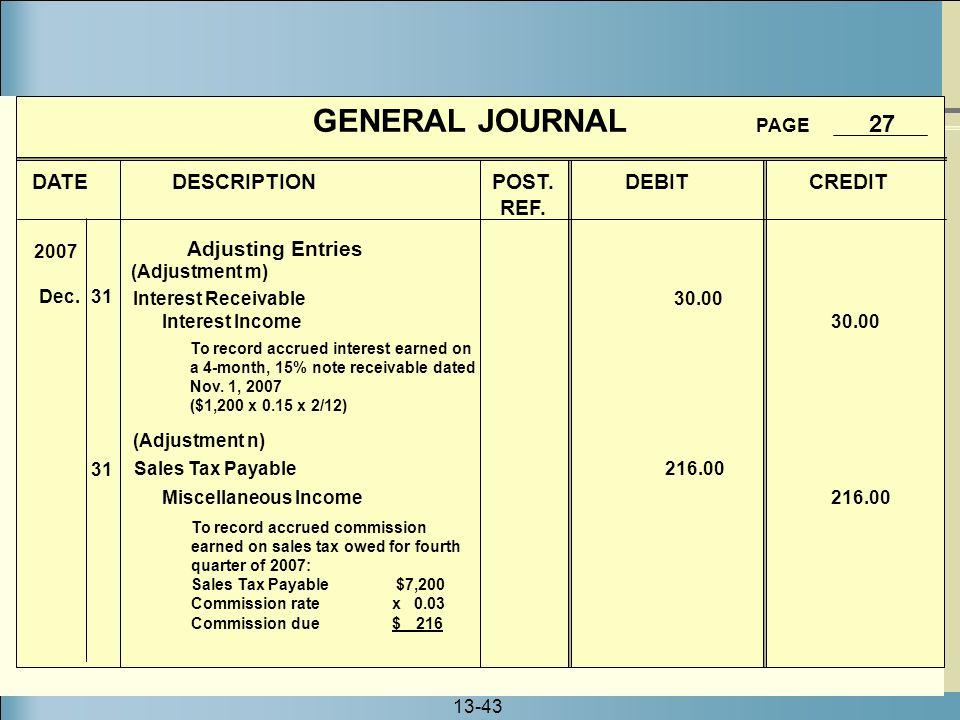 GENERAL JOURNAL PAGE 27 DATE DESCRIPTION POST. DEBIT CREDIT REF.
