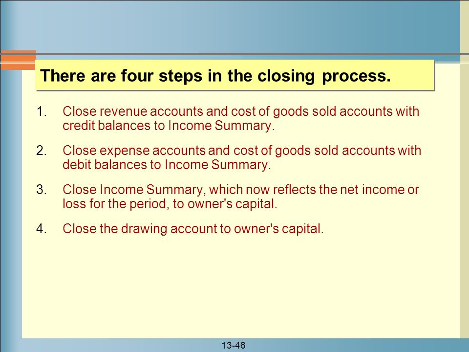 There are four steps in the closing process.