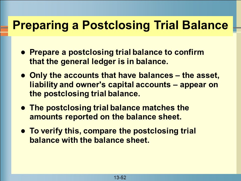 Preparing a Postclosing Trial Balance