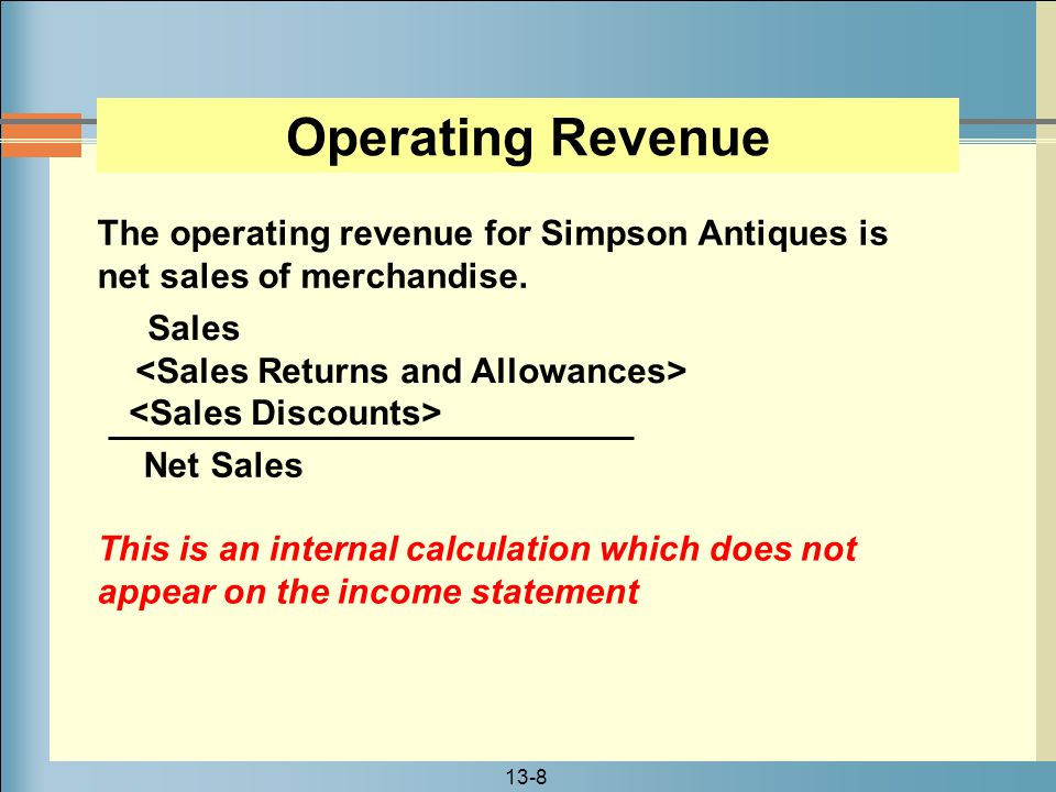 Operating Revenue The operating revenue for Simpson Antiques is net sales of merchandise. Sales. <Sales Returns and Allowances>