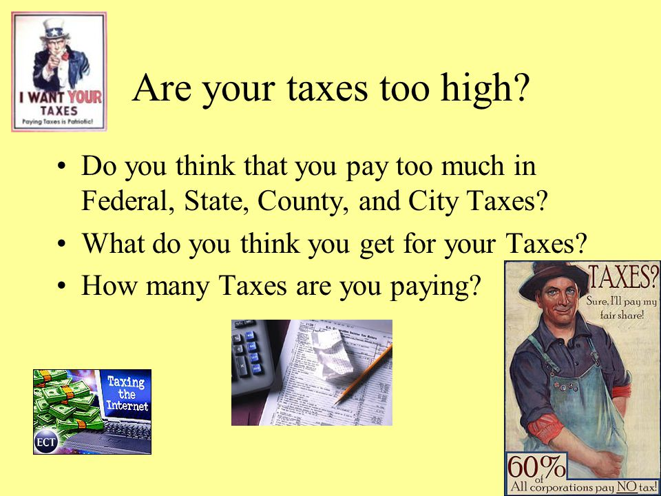 Are your taxes too high Do you think that you pay too much in Federal, State, County, and City Taxes