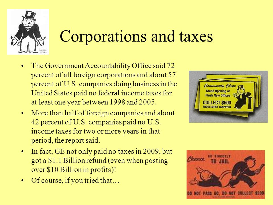 Corporations and taxes