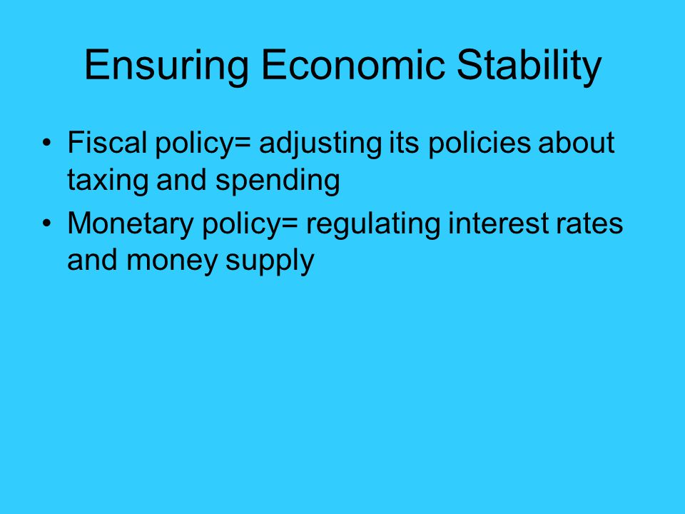 Ensuring Economic Stability