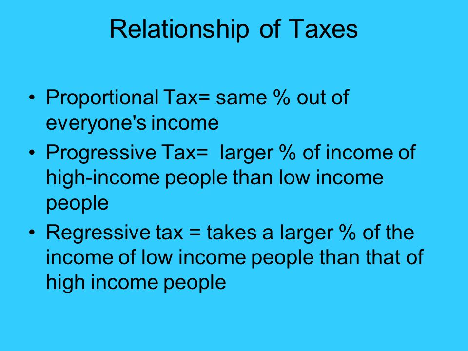 Relationship of Taxes Proportional Tax= same % out of everyone s income.