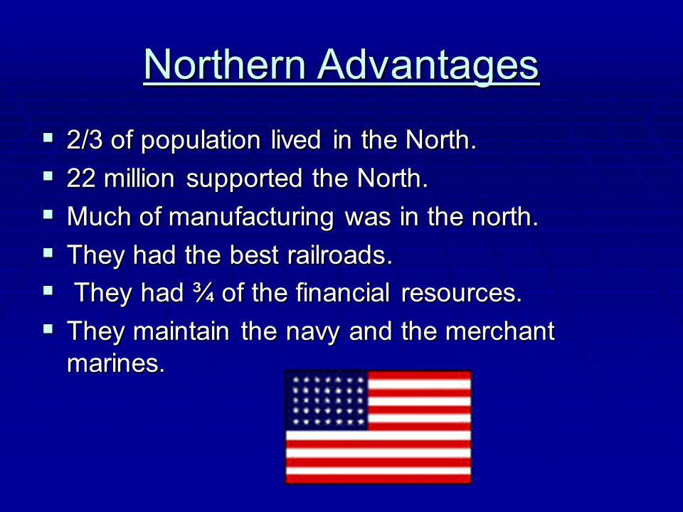 Northern Advantages 2/3 of population lived in the North.