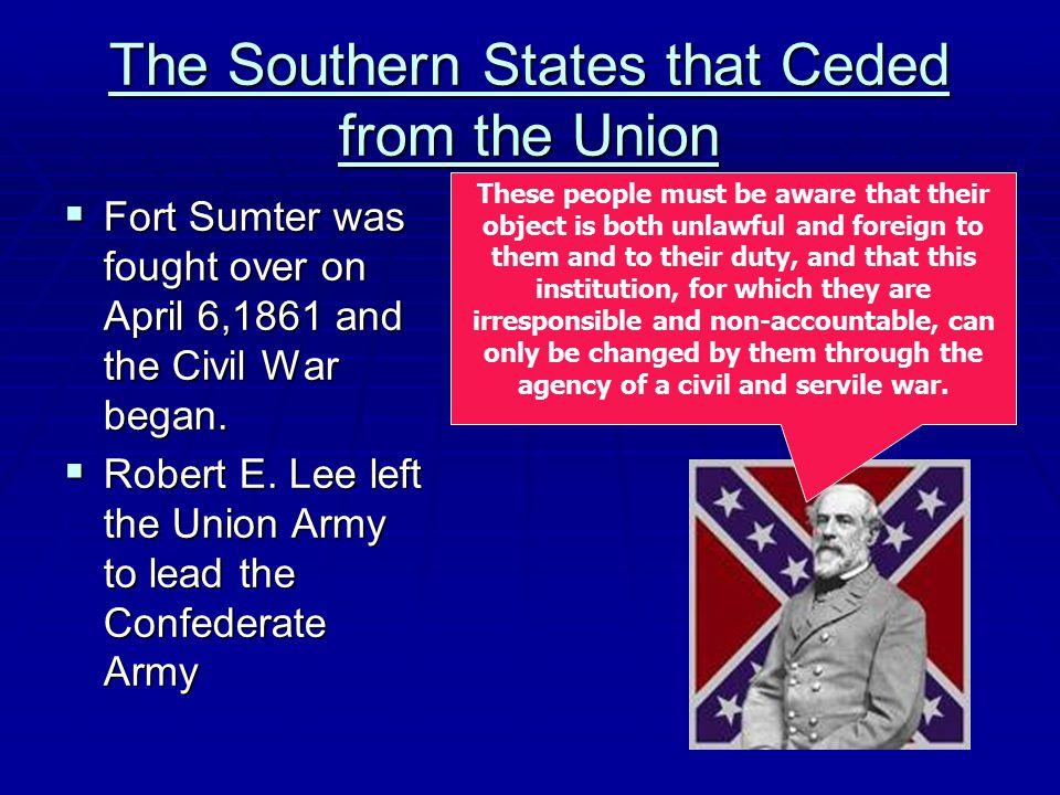 The Southern States that Ceded from the Union