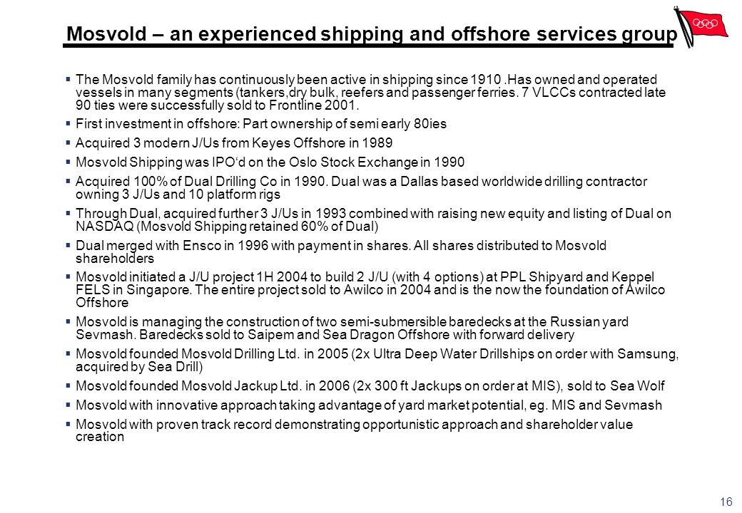 Mosvold – an experienced shipping and offshore services group