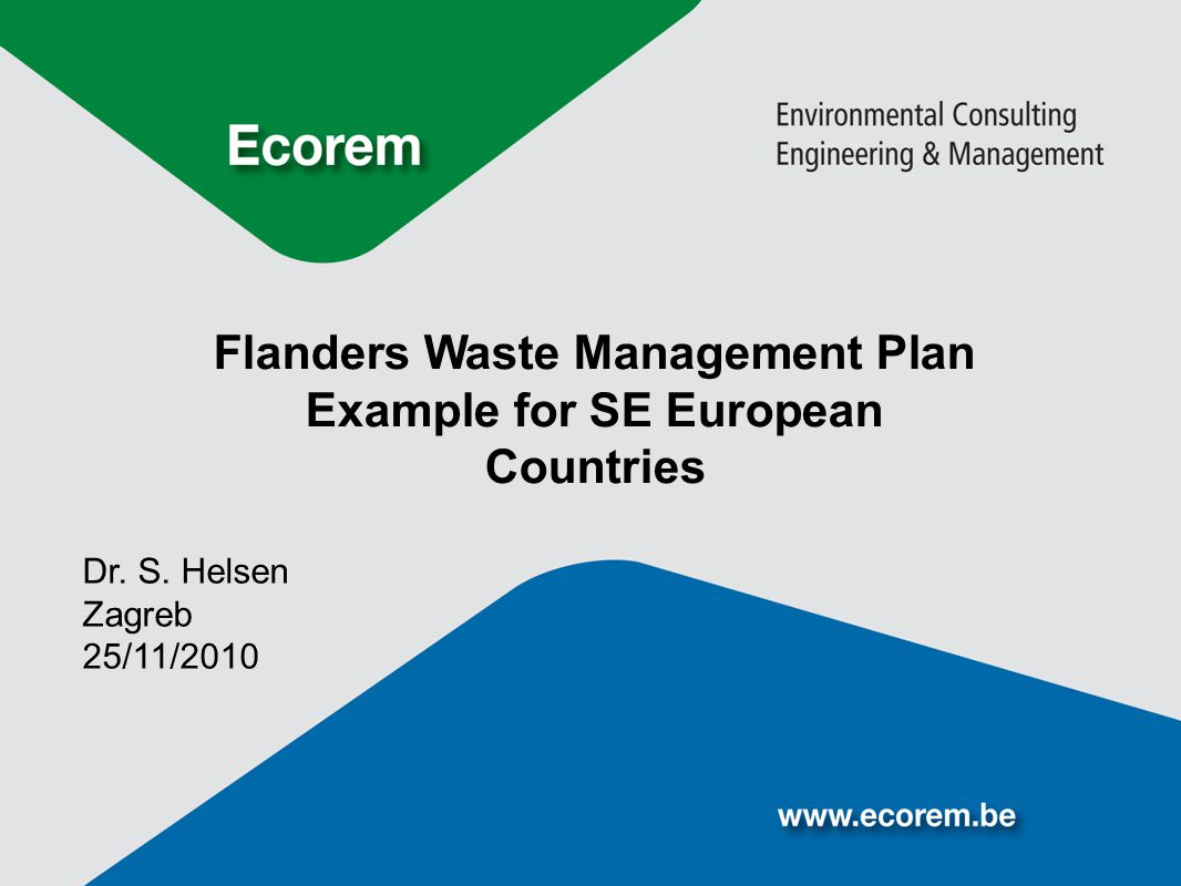 Flanders Waste Management Plan Example for SE European