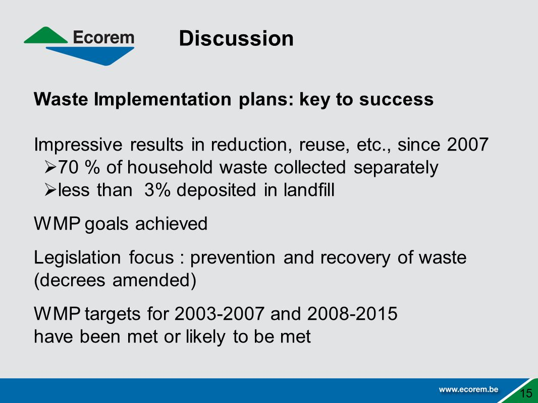 Discussion Waste Implementation plans: key to success
