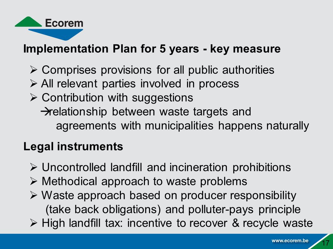 Implementation Plan for 5 years - key measure