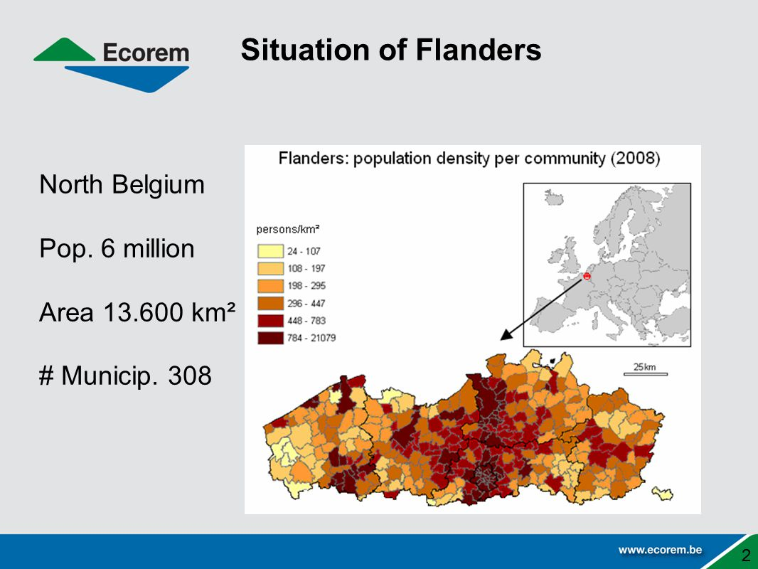 Situation of Flanders North Belgium Pop. 6 million Area 13.600 km²