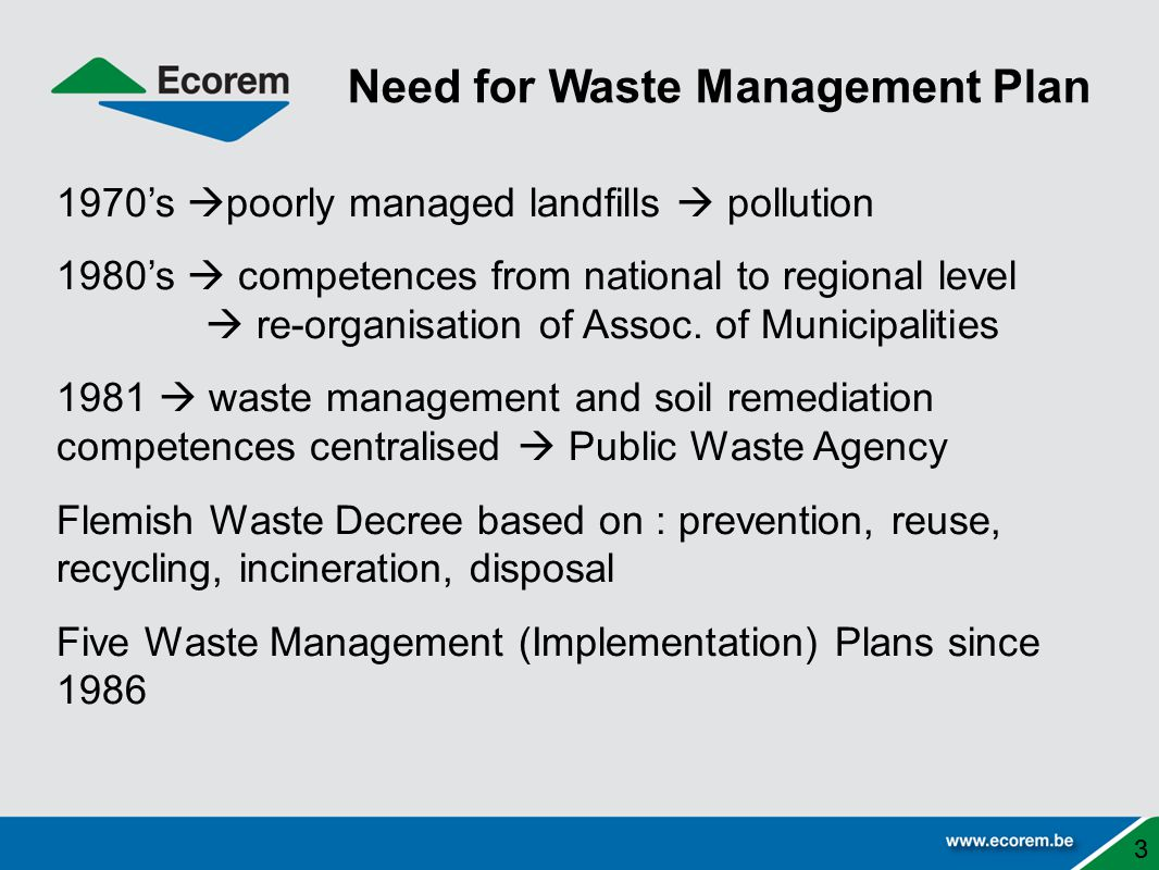 Need for Waste Management Plan
